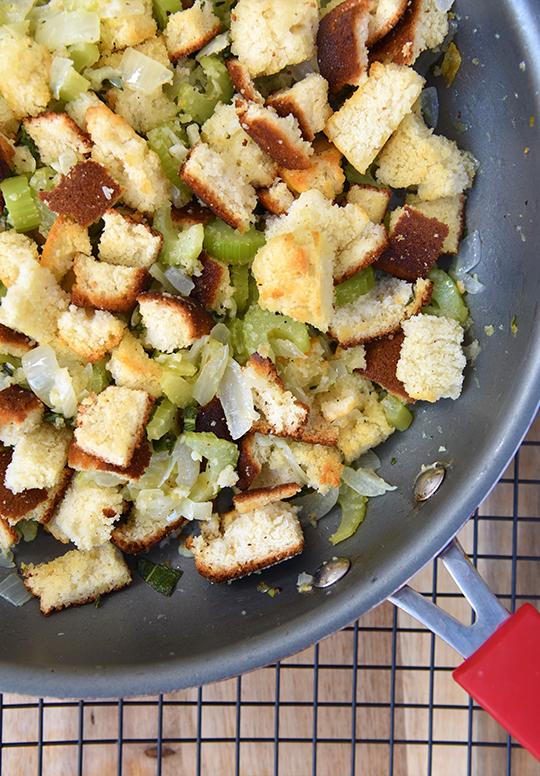 preparing cornbread stuffing