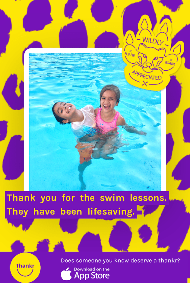 Swim Lessons Thank You Note