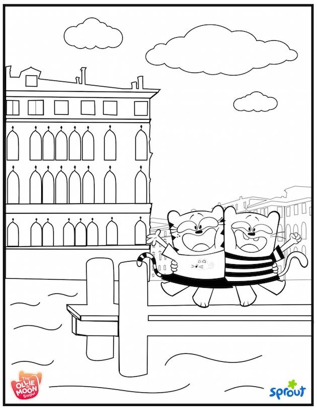 Ollie and Moon Venice Coloring Sheet