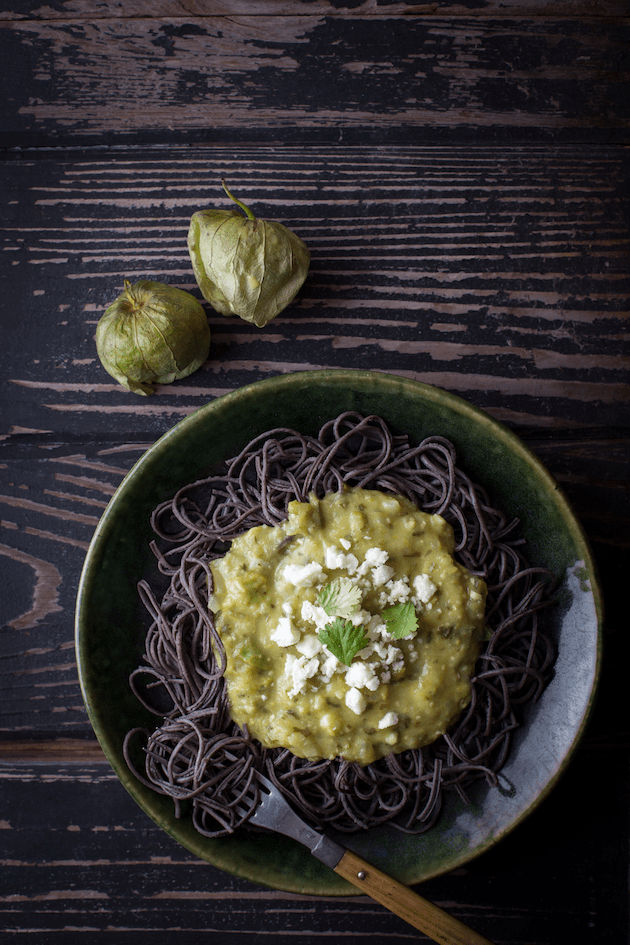 Black Bean Pasta with Tomatillo Sauce