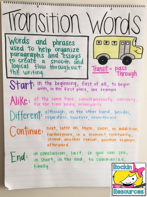 transition words for start, like, different, continue, and end