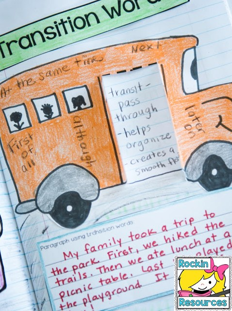 students learn about transition words and write a paragraph using transition words