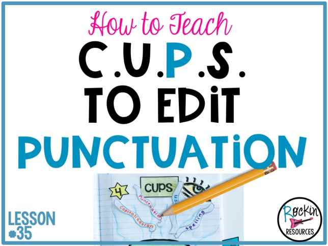 Are you looking for ideas to teach PUNCTUATION to your students? This post will review basic punctuation rules needed for an upper elementary curriculum, provide ideas for teaching them, and symbols when proofreading. The writing mini lesson is part of a series of lessons designed for instructional scaffolding in writer's workshop. It is part of the CUPS (Capitalization, Usage, Punctuation, Spelling) for editing acronym where P stands for Punctuation.