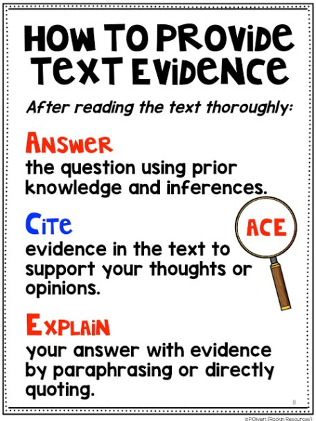 Answer cite explain text evidence