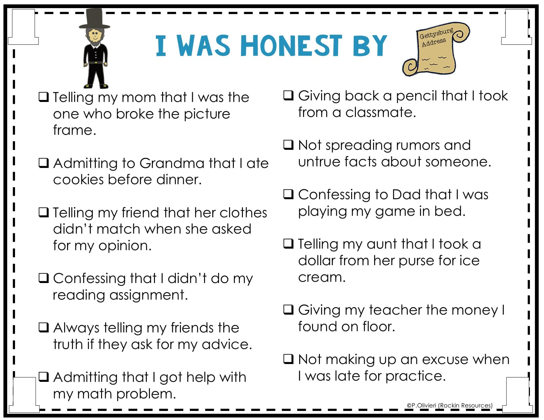 List Of Honesty Examples