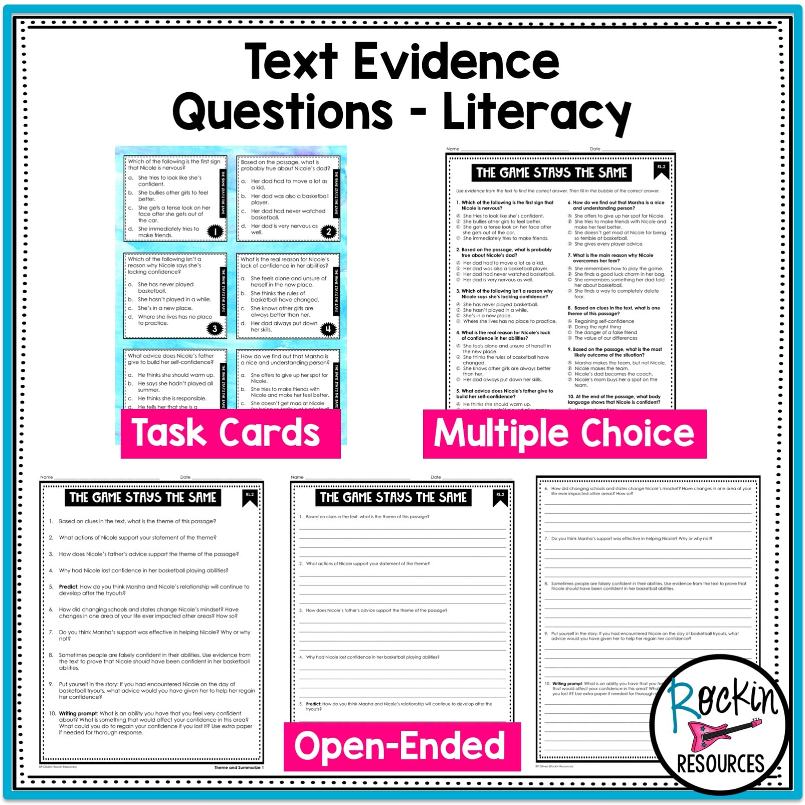 - 4th Grade Literature Reading Comprehension Passages Rockin Resources