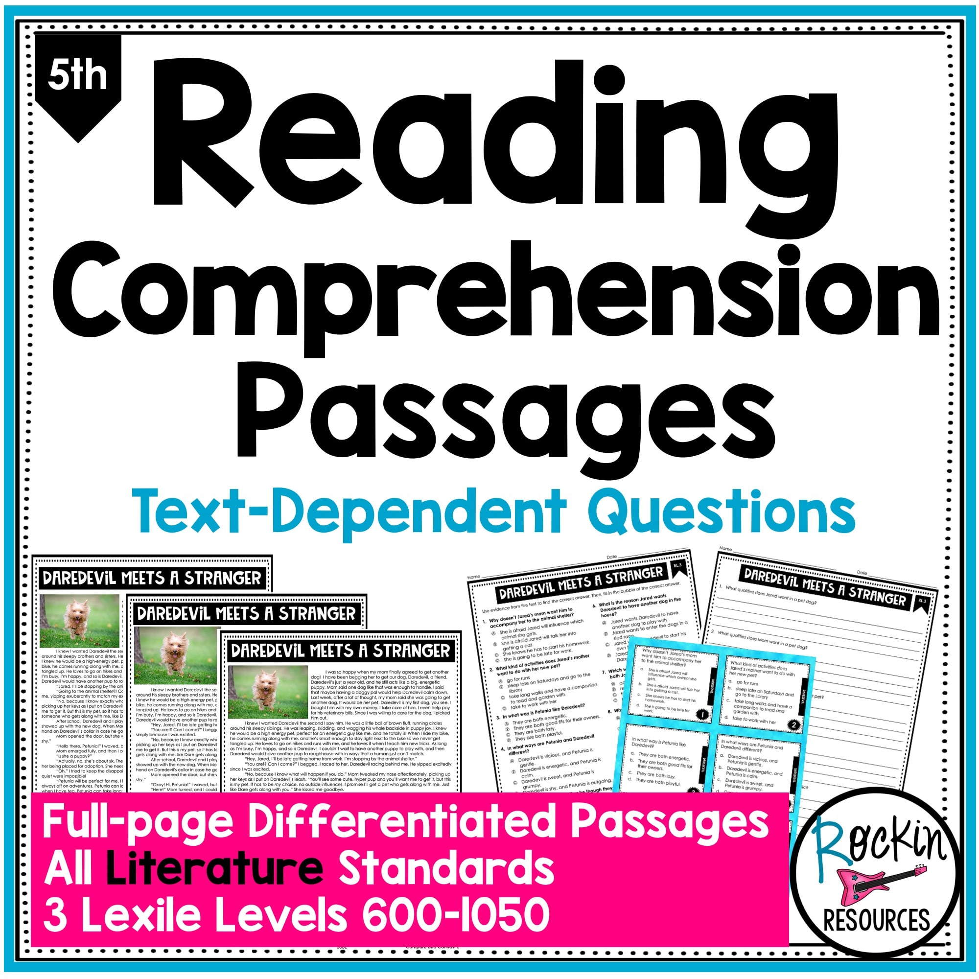 - 5th Grade Literature Reading Comprehension Passages Rockin Resources