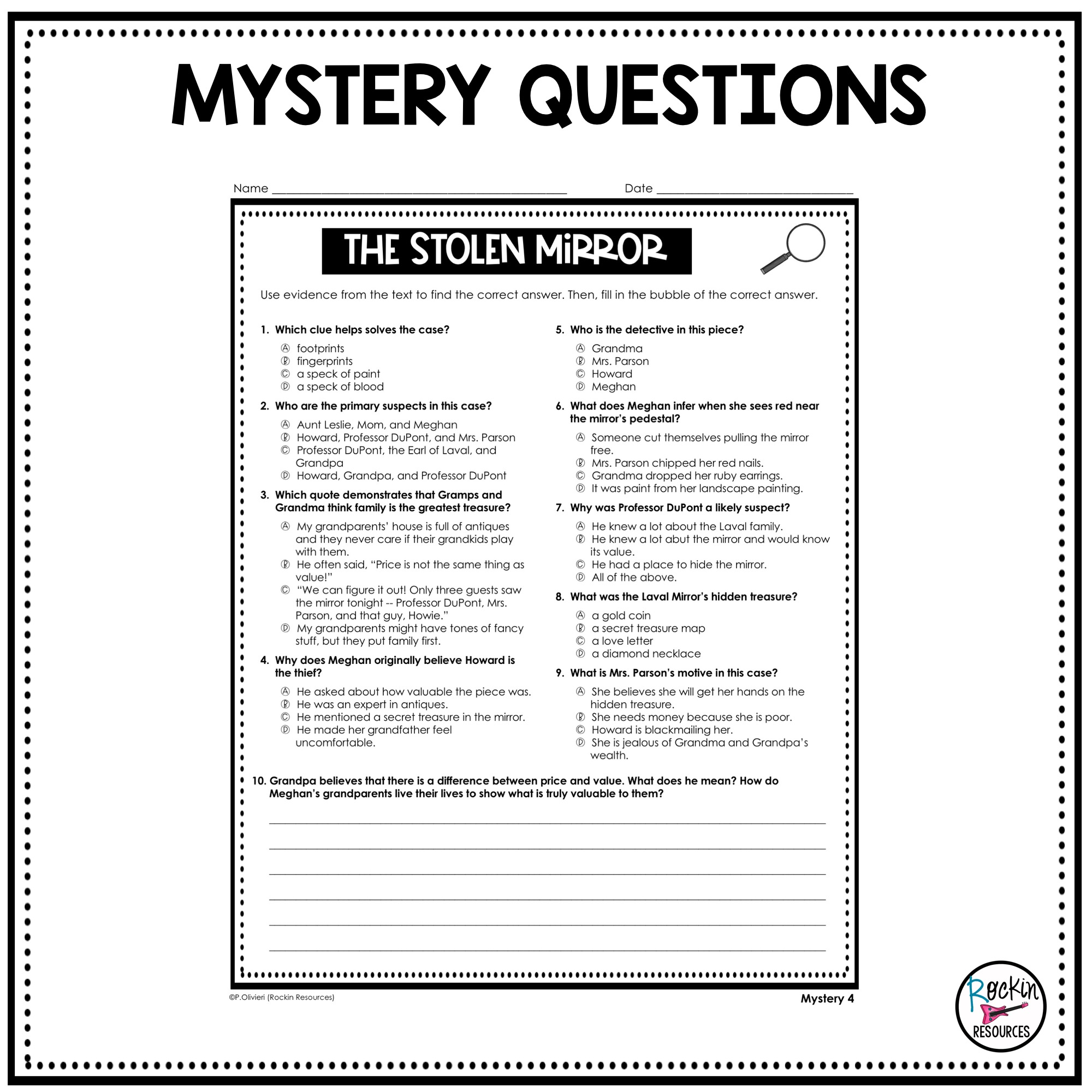 - Mystery Passages With Reading Comprehension Questions Rockin