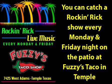 Rockin Rick plays live music in Temple Texas every week.