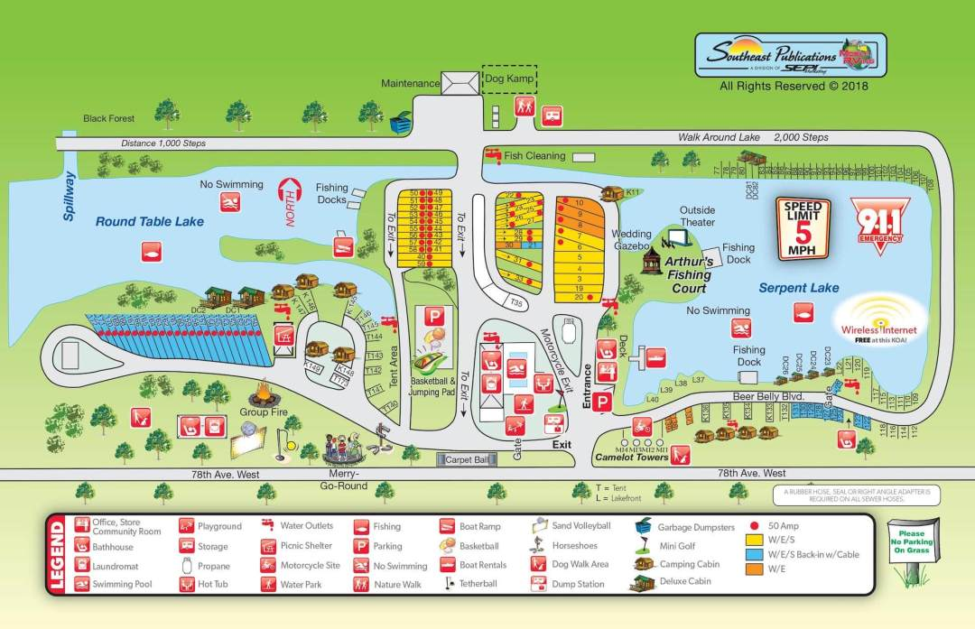 Rock Island KOA Campsite Map