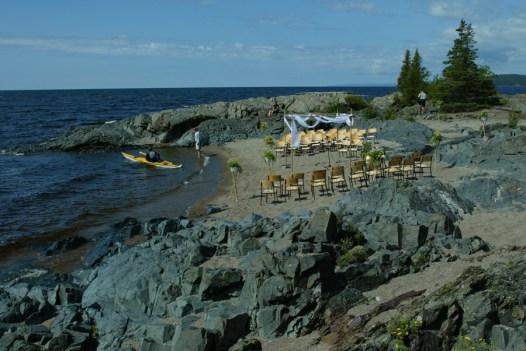 kayak and wedding set up