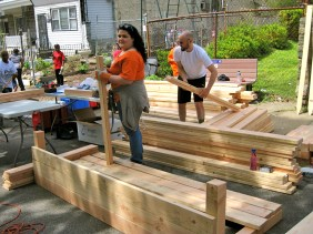 Look at all that lumber, donated by Home Depot.