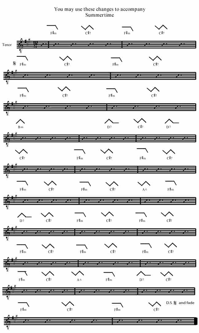 Summertime F#m from Porgy and Bess - Rockmaster Songbook