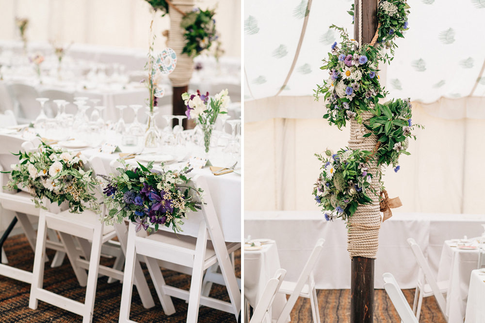 Wild Flower Wedding For A Rustic Marquee Reception At