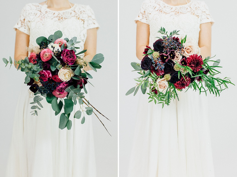 Winter Wedding Bouquets With Berry Coloured Blooms & Foliage
