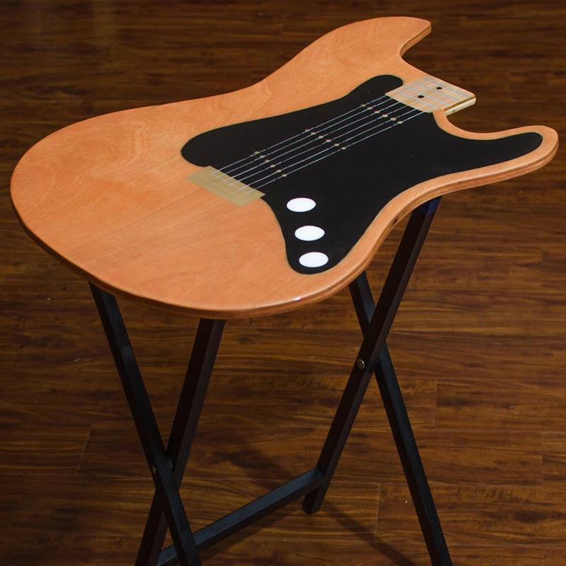 Natural Wood Guitar Tv Tray Table Light