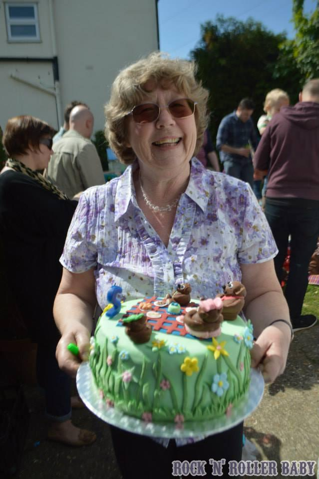My Mum, the original thrifty queen! with a cake that she made because why would anyone ever buy one, it's far cheaper to make on yourself!