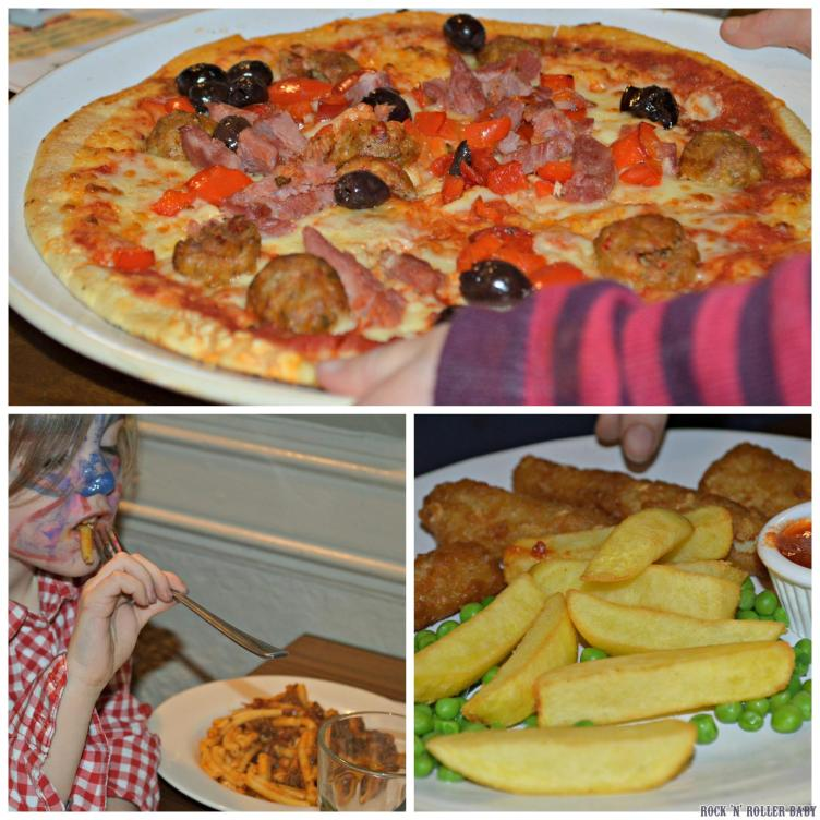 The children, those well enough to eat, had pizza, pasta and fish and chips!