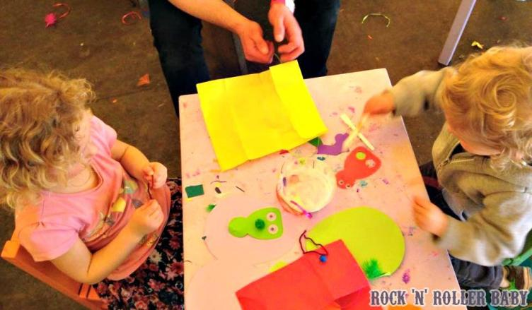 Crafting is catered to the season so at Halloween we made lanterns for the Halloween parade and on our most latest visit we made Easter crafts!