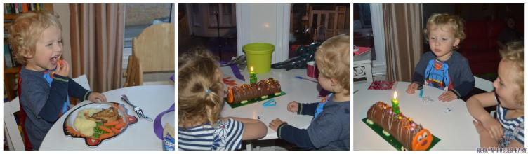 The first of the birthday cakes with a caterpillar and a 3 candle!