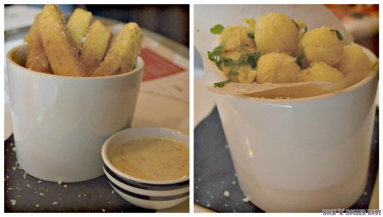 Our 'must have' sides of the moment are the polenta chips and the potato nocciola which are golden fluffy potato balls, baked and then finished with Gran Milano cheese and fresh parsley as well as a splash of truffle oil if you like it - we do!