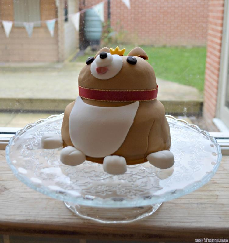 And lastly, as I mentioned, a strong theme this year is afternoon tea and picnics in honour of the Queen's big birthday. This celebration cake is Georgie the Corgie! We got to bring this one home and he's totally yummy as well as cute! Don't you think he looks lovely on my new cake stand that I picked up in IKEA (£9.95) on my way home from London?