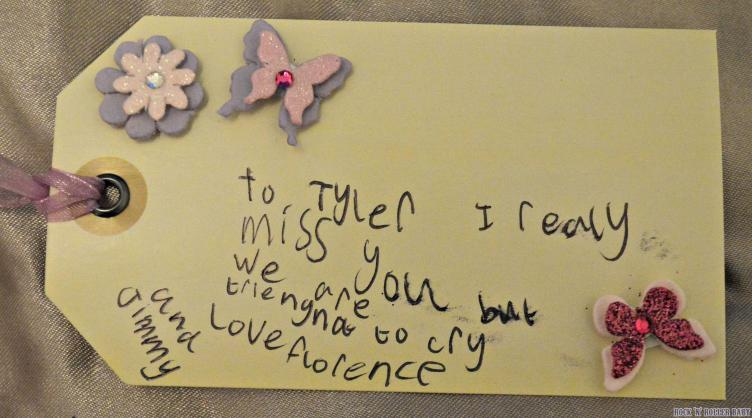 This is what Florence wrote on one of the tags from the bunches of daffodils we gave to their teachers this morning.