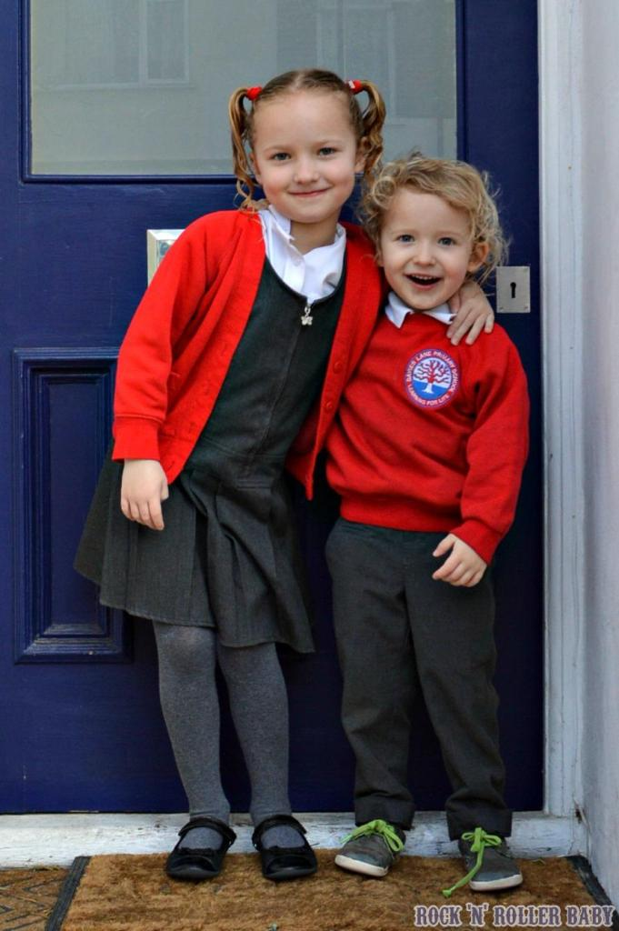 Last day at their London school, outside our front door. Our very first front door which has been a brilliant home, which we have loved and which we will always remember with love!