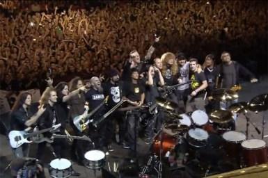 Integrantes de Slayer, Megadeth, Anthrax y Metallica juntos sobre el escenario