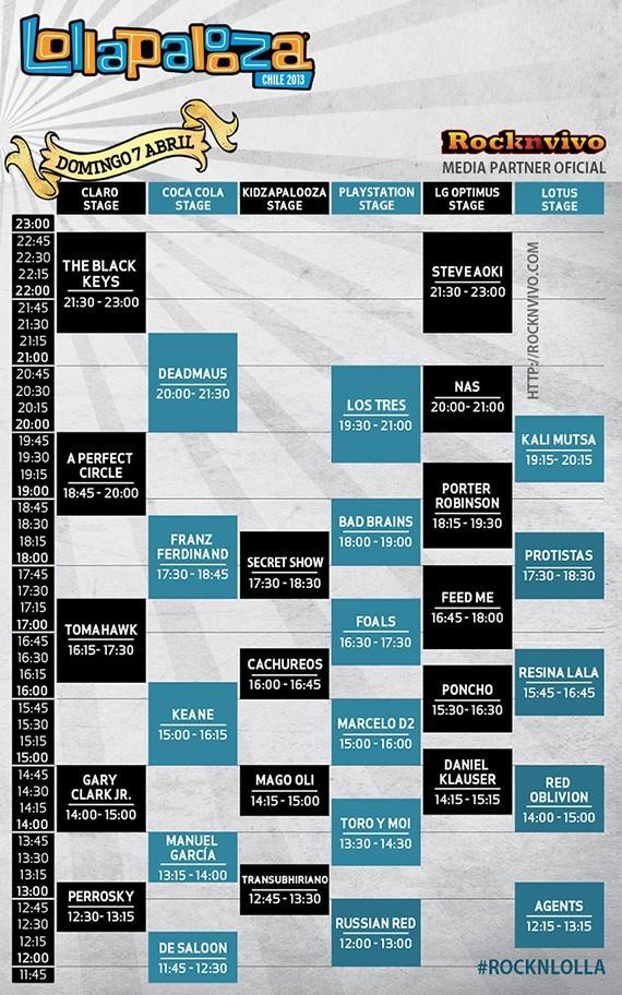 Horarios Lollapalooza Chile 2013 - Domingo 7 de abril