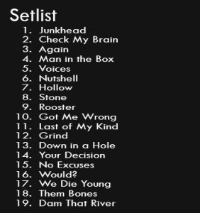 Set List - Alice In Chains