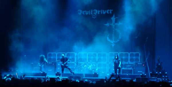 Devildriver on stage at Wembley Arena during The Eighth Plague UK Tour 2011