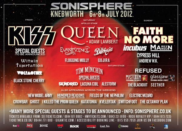 2nd Sonisphere Knebworth 2012 Lineup Poster