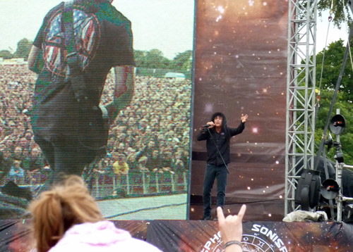Joey from Anthrax on stage at Sonisphere Knebworth 2011