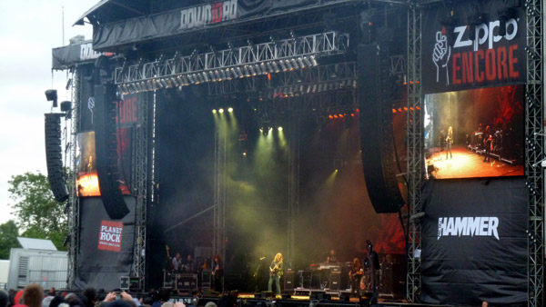 Opeth on stage at Download 2012