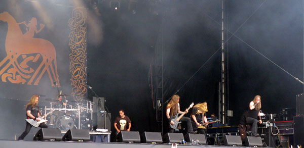 Amon Amarth on stage at Download Festival 2008