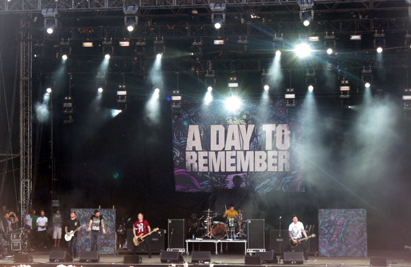 A Day To Remember on stage at Download Festival 2010