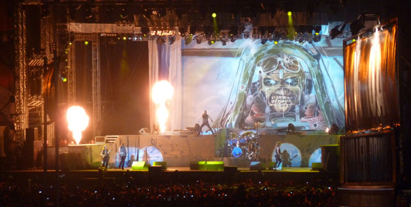 Iron Maiden on stage at Download 2013