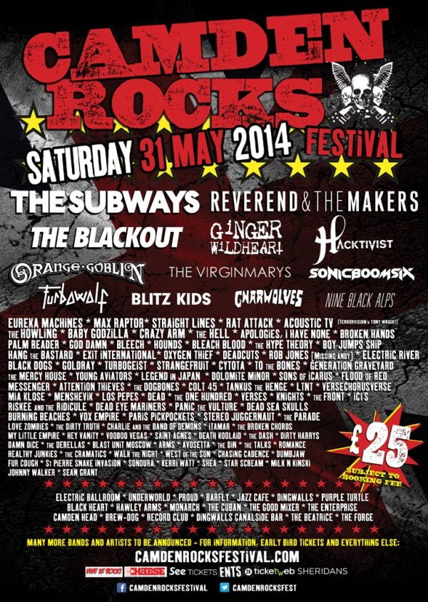 Camden Rocks Festival 2014 Latest Poster (With The Subways)