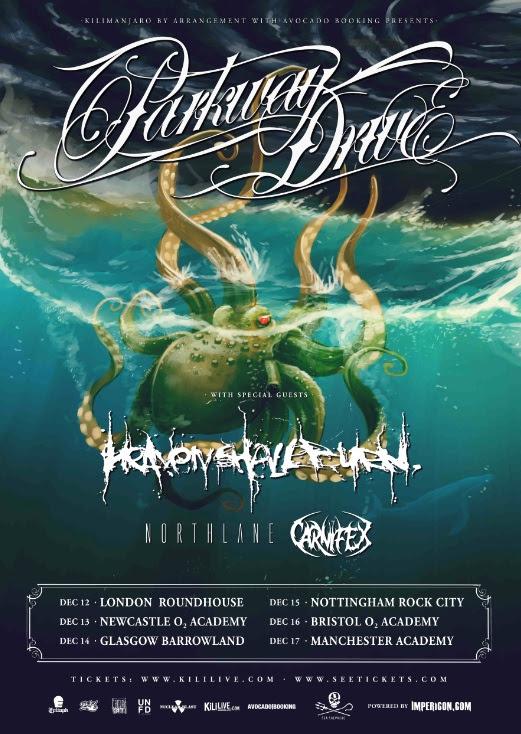 Parkway Drive December 2014 UK Tour Poster