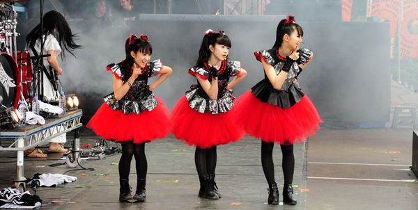 Babymetal performing at Sonisphere Knebworth 2014 on the Apollo Stage