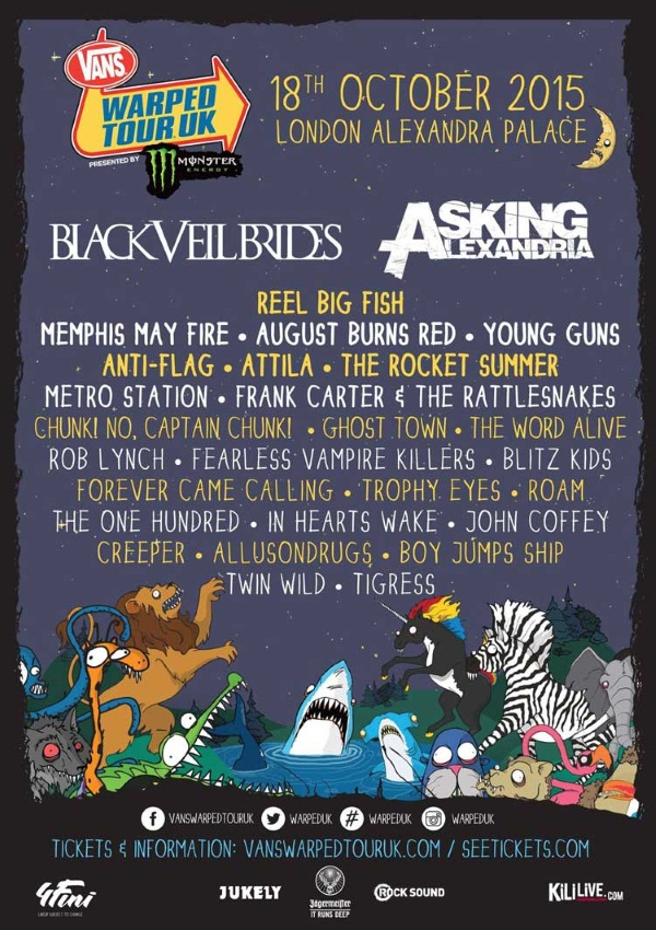 Vans Warped Tour UK 2015 Headliners First Poster