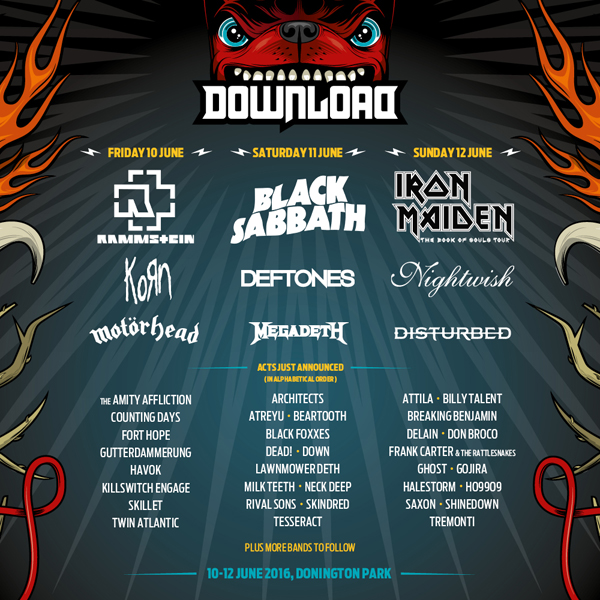 Download Festival 2016 December Announcement Line Up Poster
