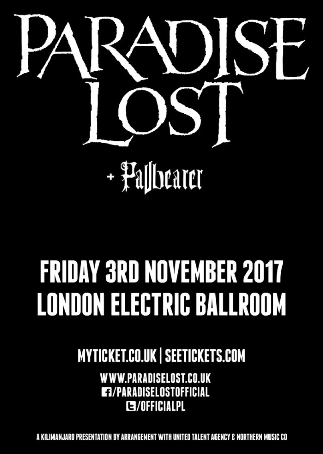 Paradise Lost Pallbearer London Electric Ballroom Show Poster November 2017