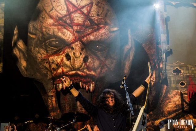 Kreator on stage at Bloodstock Open Air Festival 2017