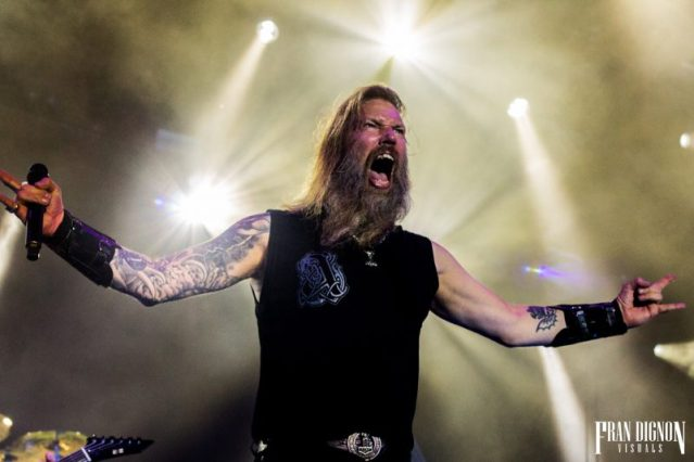 Amon Amarth's Johan Hegg On Stage At Bloodstock Open Air Festival 2017
