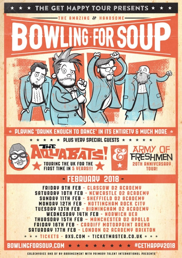 Bowling For Soup Get Happy Tour 2018 UK Poster