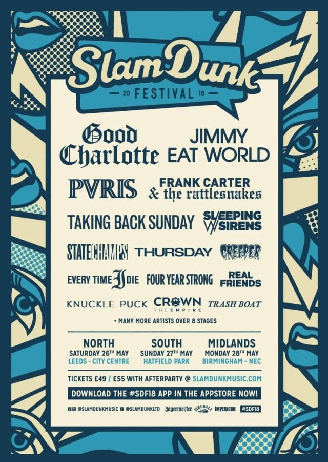 Slam Dunk Festival 2018 Co-Headliners Poster