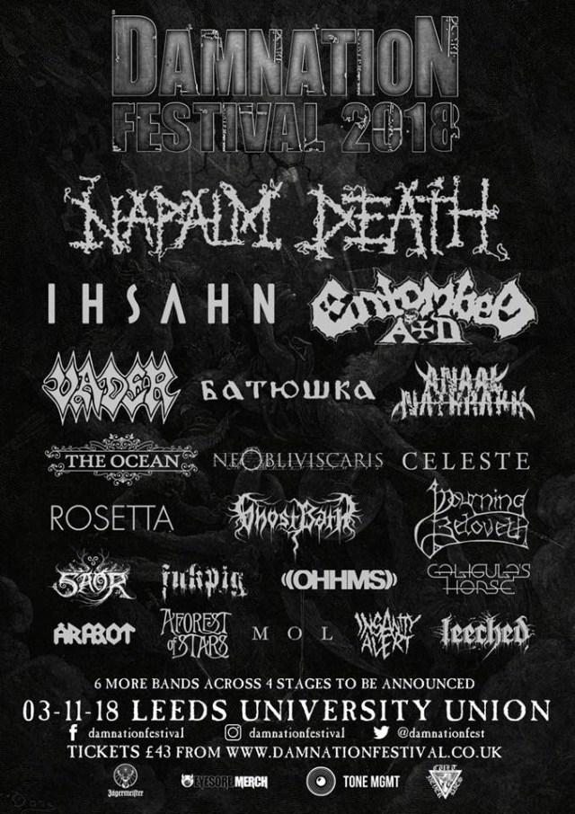 Damnation Festival 2018 July Line Up Poster