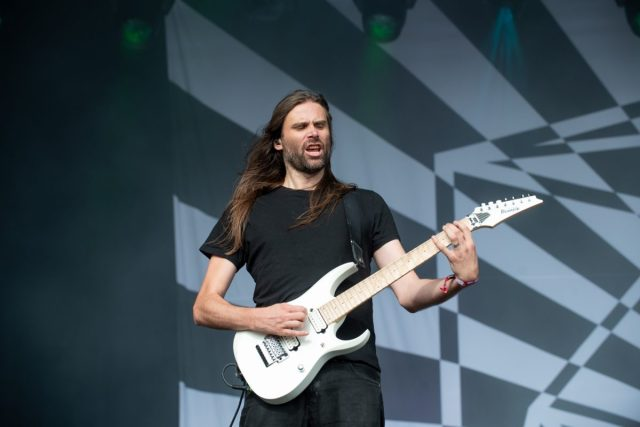 James Monteith of TesseracT on stage at Bloodstock Open Air Festival 2019